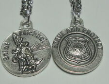 "New Round St Michael Police Officer Holy Medal on 24"" Chain ""Serve and Protect"""