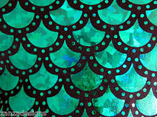 GREEN SPARKLE MERMAID SCALE HOLOGRAM  STRETCH SPANDEX FABRIC BY THE YARD