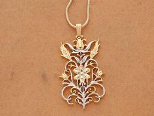 """Flower Pendant & Necklace Hand Cut Floral Medallion, 1 1/4"""" Diameter ( # 612 )"""