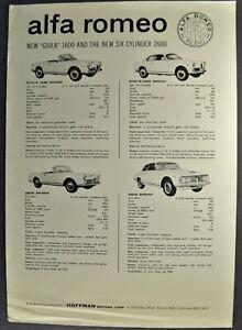 1962 Alfa Romeo Giulia Brochure Sheet 1600 2600 Spider Sprint Nice Original 62