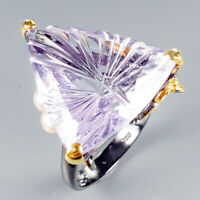 Top AA 30ct+ Natural Lavender Amethyst 925 Sterling Silver Ring Size 8.5/R126513