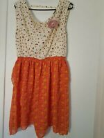 Traffic People Ladies Womens Floral Orange White Dress Summer BNWT - Size L & XL