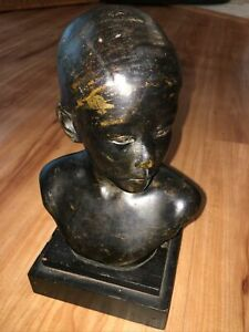 """Antique 7.5"""" Bronze Female Bust - Young Girl"""