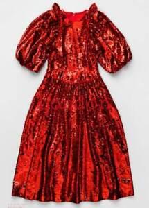 Simone Rocha X H&M HM City Edition London Red Sequined Dress UK 4 US 0 EUR 32