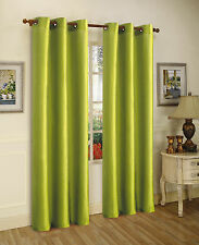 """2PCS MIRA LIME GREEN SOLID GROMMET FAUX SILK WINDOW CURTAINS PANELS 84"""""""