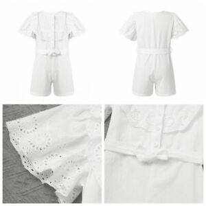 Child Girls Summer Short Sleeves Shorts Jumpsuits Ruffle Bodysuit Casual Clothes