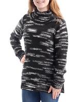 KENSIE Womens New Black White Cowl Neck Long Sleeve Sweater L