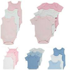 100% COTTON 3 PACK Assorted Girls Boys Bodysuits BABY GROW vest Newborn Plain
