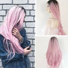 """24""""Heat Resistant Long Curly Wavy Ombre Pink Black Root Lace Front Full Hair Wig"""