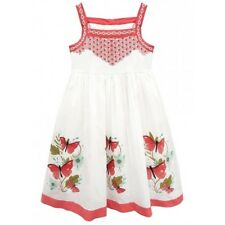 Domino Girl's Large Butterfly Print Embroidered Bodice Summer Dress 3 to 11 Year