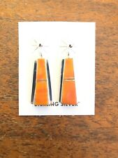 Orange Spiny Oyster Nice #C Native American Navajo Earrings Post Dangle