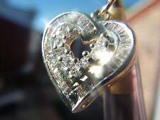 * nuevo 14K Oro Amarillo Corazón abierto encanto colgante con diamantes 0.40 quilates