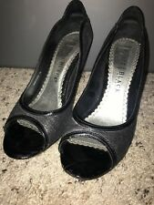 White House Black Market peep toe pewter / silver pumps with black patent size 7
