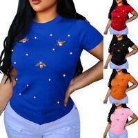 Women T-shirt Set Pearls And Butterflies Solid Short Sleeve Casual Summer
