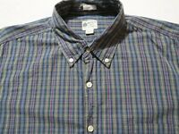 J Crew Mens Tailored Fit LS Button Down Green Red Blue Plaid Dress Shirt Large