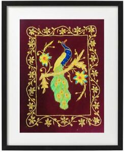 Zari Embroidered and thread Peacock on Maroon velvet background