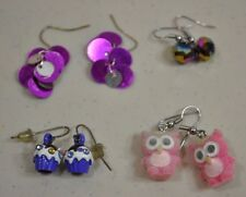 Lot of 4 Claires Pierced Earrings Cupcakes Fuzzy Owls Dangle Purple Pink