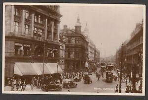 Postcard Belfast Northern Island animated Royal Avenue trams cars shops RP