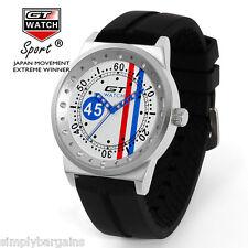 Men's Racing Analog Quartz Sports Round Blue Red White Watch - Japan Movement