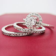 Genuine Solid 9ct White Gold Engagement Wedding 3 Rings set Simulated Diamonds