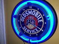 Oldsmobile Service Motors Auto Garage Man Cave Blue Neon Wall Clock Sign