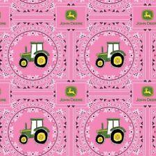 John Deere Pink Bandana Tractor Farming Cotton Fabric Fat Quarter
