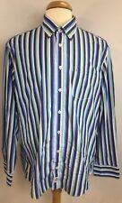 Casa Moda Men's Cotton Flip Cuff Multi-colored Striped L/S Shirt Sz XL C