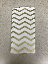 Sunglass / Eyeglass Soft Fabric Case - Gold and White Chevron - Holiday