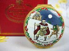 Vintage Halcyon Days enamel BOX / Bomboniere ~ CHRISTMAS 1990