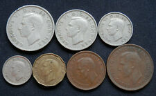 New ListingGreat Britain (Uk), Set Of 7 Diff Coins Of King George Vi 1/2 Penny To 1/2 Crown