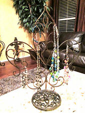 Iron Fleur de Lis Jewelry Stand Holder Display Tree Necklaces Old World Tuscan