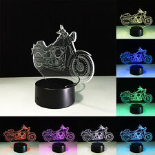 3D LED Motorcycle illusion Night Light Touch Switch Table Desk Lamps Kids Gifts