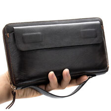 Men Genuine Leather Business Clutch Bag Cell Phone Long Wallet Cowhide Leather