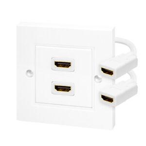 HDMI Dose 2fach Wanddose Unterputz Kabelpeitsche Ethernet 3D FullHD HDTV 4K 2160