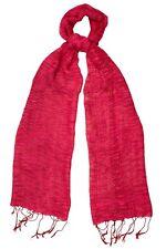 Rosso Papavero Seta & Cotone Intreccio Sciarpa Con Trama-FAIR TRADE nuova con etichetta 180 CM x 40 cm