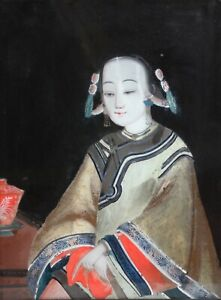 Original Antique China Trade Reverse Glass Painting-Chinese Maiden c.1800