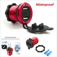 Auto Car Cigarette Lighter Charger Socket Dual USB Port LED Voltmeter Waterproof