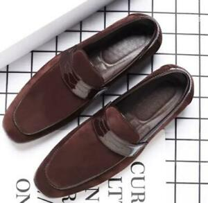 Men Faux Suede Loafers Slip-on Casual Workwear Pumps Flat Comfort Shoes Business