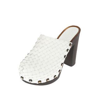 RRP €135 LUCREZIA STELLA Leather Mule Shoes EU 38 UK 5 US 8 Woven Platform Sole