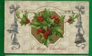 Christmas embossed postcard/ 4 silver bells/ holly, berries/ gold bkgrd/Winsch