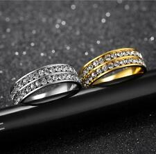 Men Women Silver/Gold Stainless Steel Ring Wedding Anniversary CZ Band Size M-V