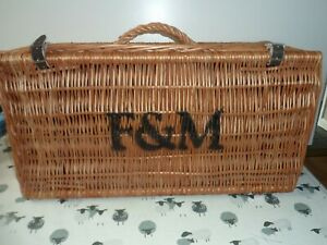 Fortnum & Mason LARGE Wicker Hamper Basket, original straw F&M 60x30x24cm VGC