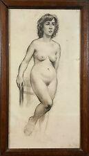 FEMME NUE. DESSIN AU FUSAIN SUR PAPIER. ANONIMO. CIRCA 1950.