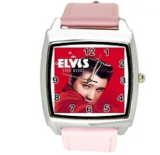 ELVIS PRESLEY WATCH Steel LEATHER MUSIC KING LEGEND SQUARE CD PINK BAND WATCH E5