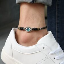 Women/ Men Genuine Leather Protection Evil Eye Rope Anklet Bracelet One Size