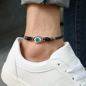 Women/ Men Genuine Leather Protection Evil Eye Rope Anklet Bracelet One Size