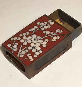 Vintage Matchbox Match Holder Chinese Cloisonné  Copper Box / Striker