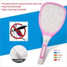 Bug Zapper Racket Electric Mosquito Fly Swatter Killer Insects Handheld AU #d587