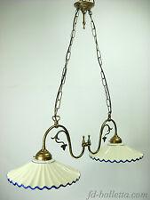 Lampadario ottone brunito liberty sospensione due luci,piatti ceramica l22011