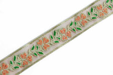 Pale Peach Jacquard Trim Organza Ribbon Trim With Spring Flowers